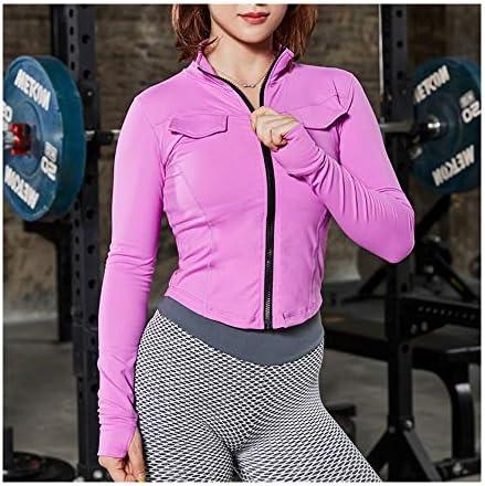 女性ヨガシャツ、ワークアウトを実行するために長袖フィットネス体育服でジャケットを実行する高弾性ジッパー,B,M