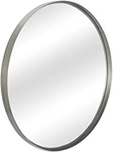 "Contemporary Silver Metal Round Mirror (30"") - Large Hanging Clean Wall Mounted Metal Thin Frame Circle Mirrors for Washroom, Bathroom, Entryway, Living Room, Bedroom, Modern Vanity Mirror Wall Decor"
