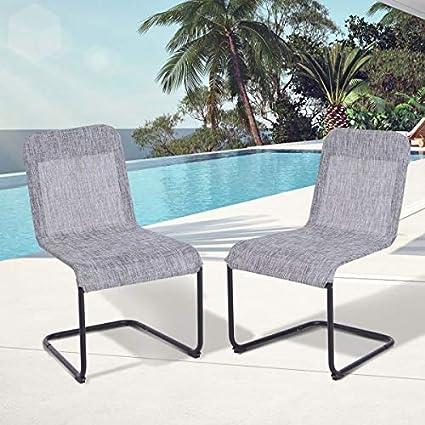 Amazon.com: Juego de 2 sillas de comedor de malla con lazo ...