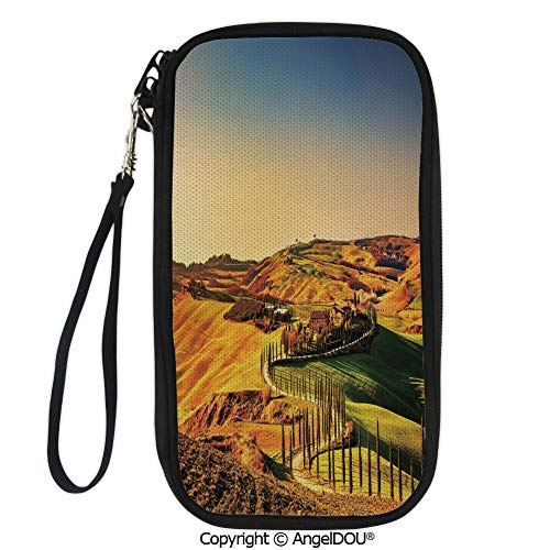 PUTIEN Zip Around Travel Card Holder Purse Tuscany Crete Senesi Rural Landscape Cypress Trees Country Farmland Europe Decorative for Women Girls Ladies.