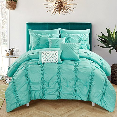 Chic Home 10 Piece Tori Pinch Pleated, Ruffled And Pleated Complete Bed In A Bag Comforter Set Sheets Set And Deocrative Pillows Included, Queen, Turquoise by Chic Home