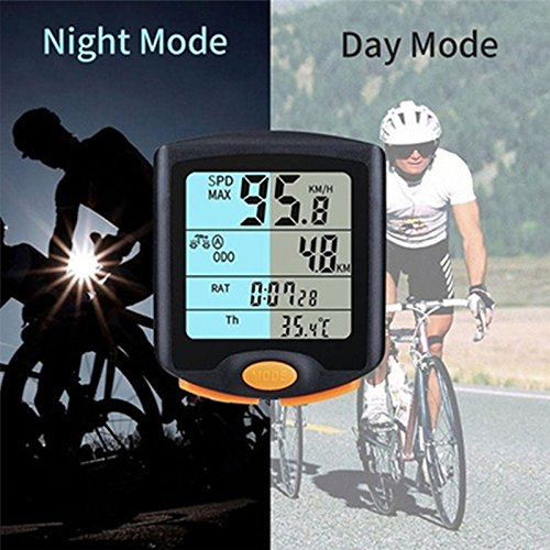 YUIOP Bike Computer, Wireless Bike Speedometer, Wireless,Backlight Display,Current/AVG/MAX Speed Tracking,Distance Recording for Outdoor Cycling and Fitness