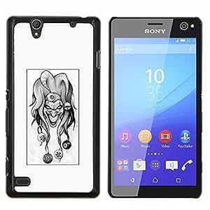 Caucho caso de Shell duro de la cubierta de accesorios de protección BY RAYDREAMMM - Sony Xperia C4 - Evil Joker B & W