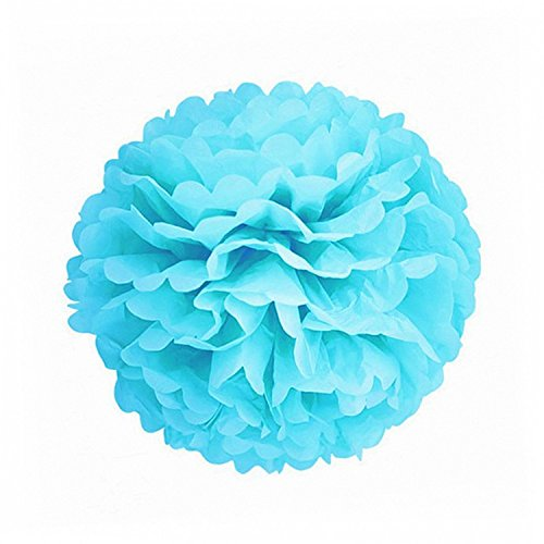 X-Sunshine 5pcs 8inch 10inch DIY Tissue Paper Flower Balls Outdoor Decoration Baby Girl's Room Craft Paper Pom Poms Hanging Flower For Party Wedding Christmas Birthday (5, Turquoise Blue) (Craft Tissue Decorations)