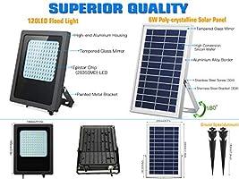 Amazon.com: Luces solares de inundación de 120 LED, luces ...