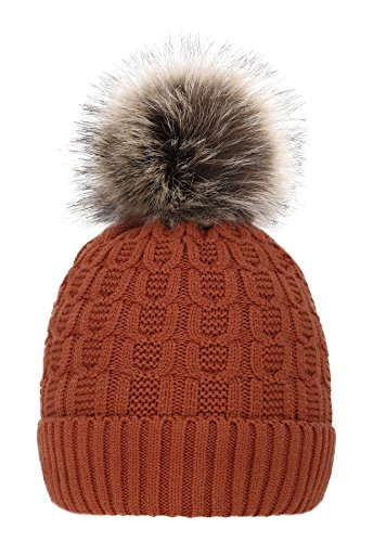 Men & Women's Luxurious Faux Fur Pompom Thick Knit Winter Beanie,Burnt Orange by ThunderCloud