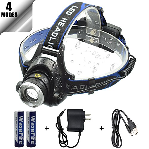 WasaFire LED Headlamp, 2000 Lumen Zoomable Headlamp Flashlight, 4 Modes Rechargeable LED Head Light, Waterproof Adjustable LED Headlamps for Running, Walking, Camping, Reading, Fishing