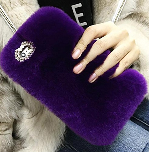 (Losin Plush Case Compatible with Apple iPhone 7 Plus / iPhone 8 Plus 5.5 Inch Fashion Luxury Diamond Bowknot Cute Fuzzy Furry Winter Rabbit Hair Warm Plush Fluffy Fur Soft TPU Back case)