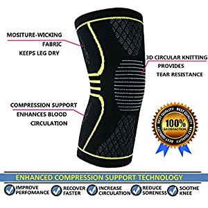 Compression Knee Support Sleeves Brace for Meniscus Tear Arthritis Squats Quick Recovery Promote Circulation Running,Jogging Workout CrossFit Both for Men and Women(Large)
