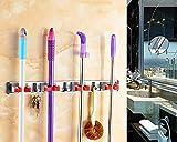 OULII Broom Holder Mop Holder Mop and Broom Holder Wall Mount 4 Slots and 3 Hooks Rack for Bathroom Laundry Room Shelf Rack Towel Hook