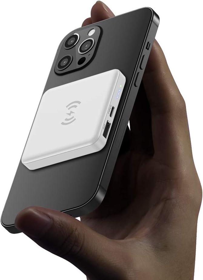 Batería externa magnética para cargador inalámbrico, cargador magnético portátil de 5000 mAh, USB C, fuente de alimentación de emergencia, adecuado para iPhone 12/12 Mini/Pro/Max (blanco)