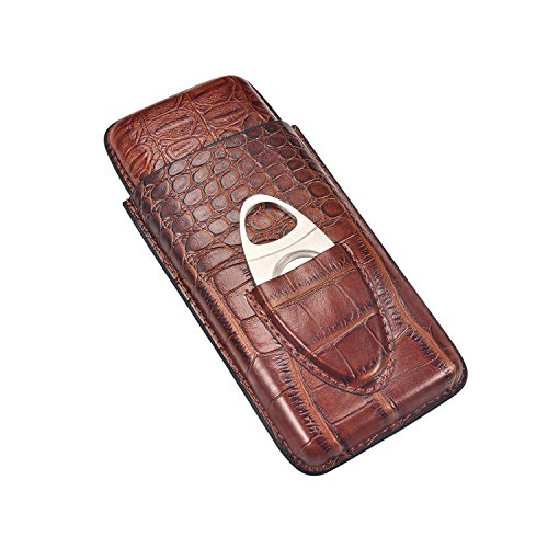 Volenx Leather Cigar Case, 3 Tubes Travel Cigar Humidor with Stainless Steel Cutter (Brown) 3 Finger Leather Cigar