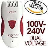 Epilady Legend 4th Generation Rechargeable Epilator With Dual Voltage 100-240V Power Supply Adapter and International Two-Prong Round Pin Plug Adapter Travel Pack For Sale