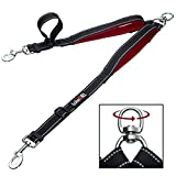 Double Dog Leash - tobeDRI Double Dog Leash Coupler - 2 Padded Handles, Adjustable from 18 to 24 Inch - Heavy Duty Dual Dog Leash for 2 Dogs for Large Medium Dogs (Black)