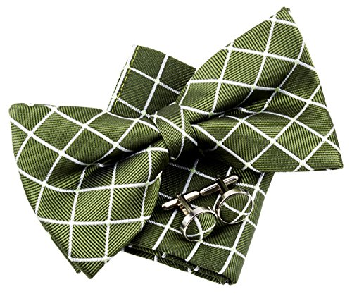Retreez Dots and Check Pattern Woven Pre-tied Bow Tie (5
