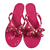 Women Stud Bow Flip-Flops Sandals Beach Flat Rivets Rain Jelly Shoes Red