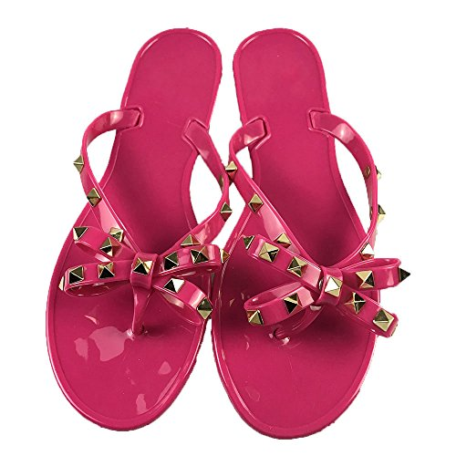 (Women Studs Flip-Flops Beach Flat Sandals Slip On Strap Toe Jelly Shoes Red)