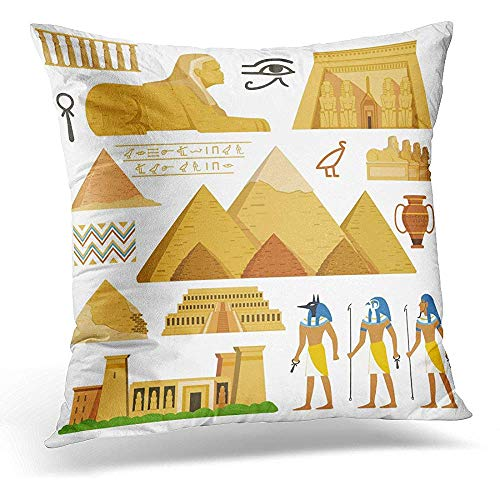 Throw Pillow Covers Monument Pyramid of Egypt History Landmarks Cultural Objects and Symbols Egyptians Architecture Ancient Decorative Pillows case 18 x 18 Inches Home Decor sofa Cushion cover (Pyramid Pillow)