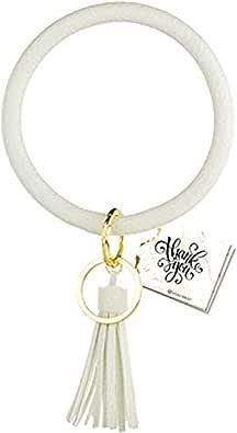 Wristlet Keychain Bracelet, Key Ring Bracelet, Bangle Keyring Tassel Ring Circle Key Ring Leather Key Chain for Women & Girls