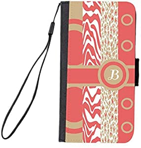 Rikki KnightTM B Initial Coral - Sand -Leopard Zebra Design Galaxy S6 Premium PU Leather Wallet Type Flip Case with Magnetic Flap for Samsung Galaxy S6