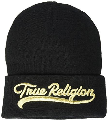 True Religion Men's TR Script Watchcap, Black/Gold, OSFA