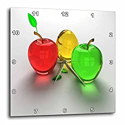 3dRose dpp_98432_3 Glass Apples in Red Yellow N Green Wall Clock, 15 by 15