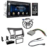 "Soundstream Double Din VR-651B DVD/CD/MP3 Player 6.5"" LCD Display Bluetooth Car Radio Stereo Single Double Din Taupe Dash Kit for 2006-2011 Honda Civic"