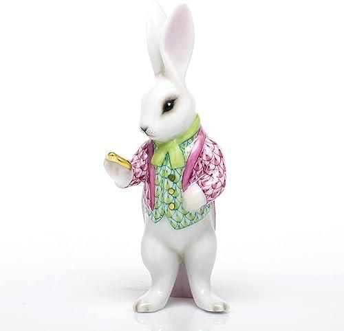 Herend Bunny Rabbit Raspberry and Key Lime Porcelain Figurine