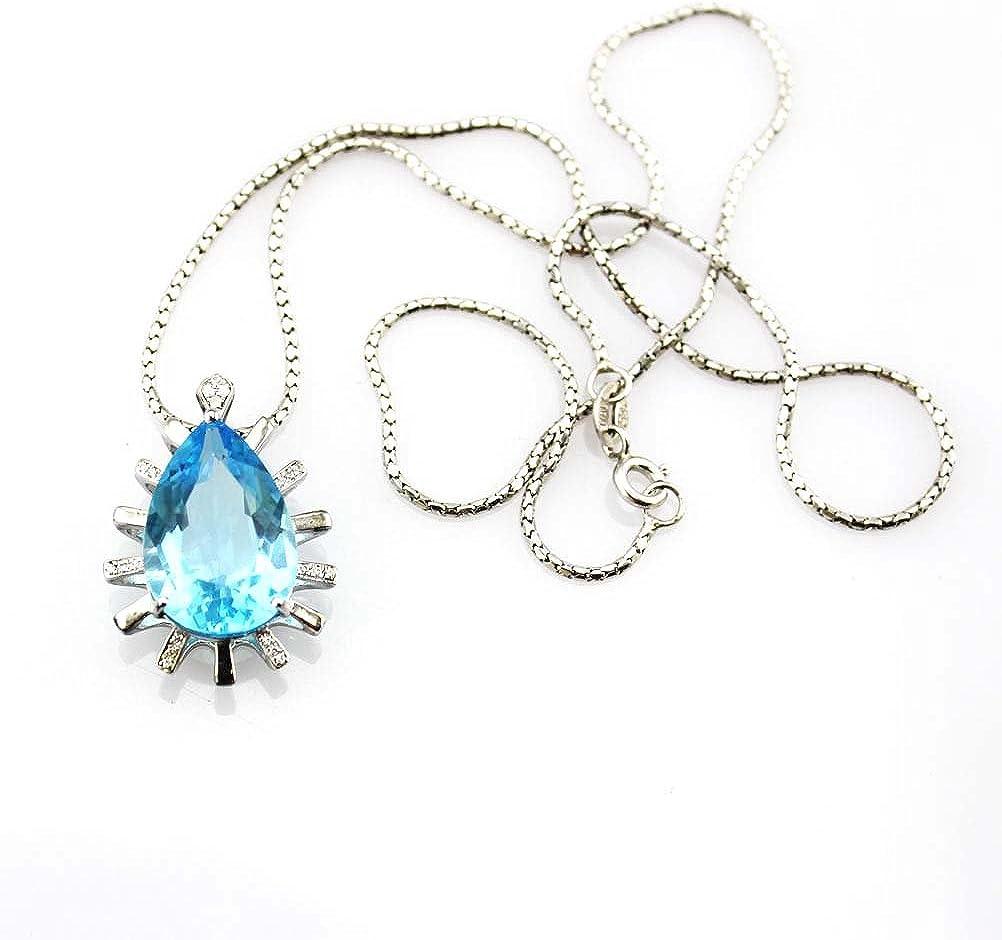 Jade Angel Plata de Ley con Forma de Gota de 12 x 18 mm Creado Azul Topacio Colgante con Collar de Cadena de 45,72 cm