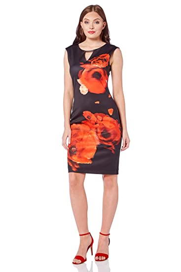 234e769f786 Roman Originals Women Poppy Print Keyhole Dress - Ladies Scuba Knee Length  1940s Floral Cocktail Party Royal Ascot Formal Elegant Mother of The Bride  Groom ...