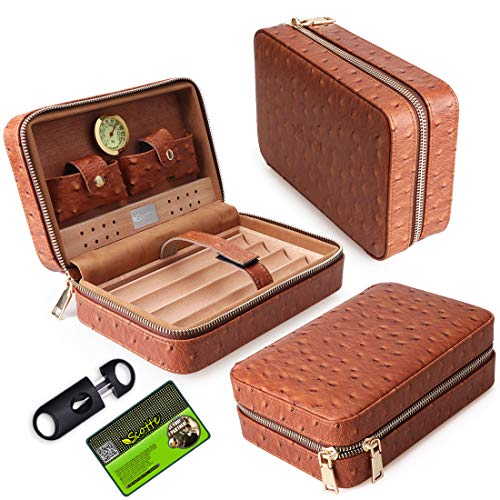 Scotte Portable Travel Cigar Humidor Case (Holds up to 4 ()