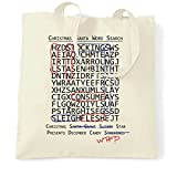 Halloween Christmas Tote Bag Crossword Hidden Words Natural One Size