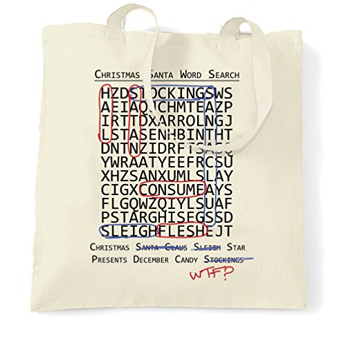 Halloween Christmas Tote Bag Crossword Hidden Words Natural One Size