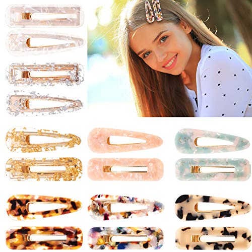 16 Pieces Acrylic Resin Hair Clips Geometric Alligator Hair Barrettes for Women and Girls Fashion Hair Accessories (Color B)