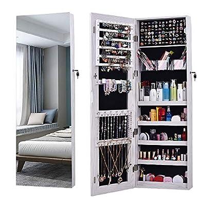 Armoire à Bijoux Miroir, AOOU Miroirs en pied,Avec 3 Boîtes de Rangement  Multifonctions, Verrouillée et Miroir Mural, Fixé au Mur, Peut être ...