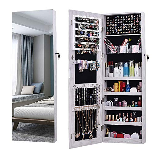 AOOU Jewelry Organizer Jewelry Cabinet,Full Screen Display View Larger Mirror, Full Length Mirror,Large Capacity Dressing Mirror Makeup Jewelry Armoire Jewelry Mirror Full Length Mirror (White) (Cabinet Mirror Jewelry And)