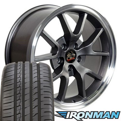 OE Wheels 18 Inch Fits Ford Mustang 1994-2004 FR500 Style FR05B Anthracite with Machined Lip 18x9 Rims Ironman iMove Gen2 Tires SET
