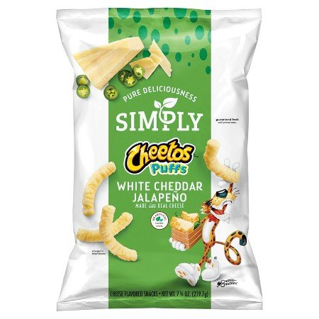 Simply Cheetos Puffs White Cheddar Jalapeno Cheese Flavored Snacks, 7.75 Ounce