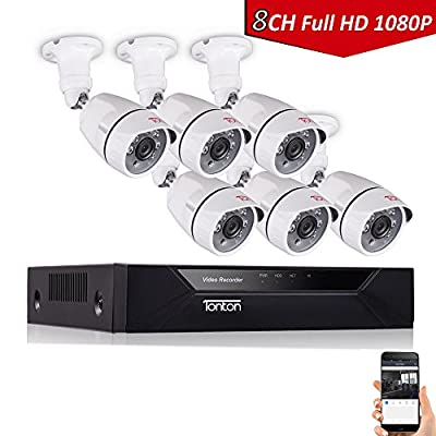 Tonton 8CH Full HD 1080P Security Camera System, 5-in-1 Surveillance DVR and (6) 2.0MP 1920TVL Waterproof Outdoor Indoor CCTV Bullet Camera with Perimeter Protection and Clear Night Vision(NO HDD) from Tonton security