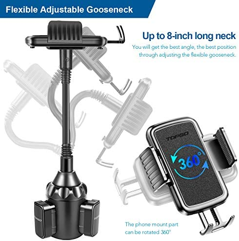 [Upgraded] TOPGO Cup Holder Phone Mount Universal Adjustable Gooseneck Cup Holder Cradle Car Mount for Cell Phone iPhone Xs/XS Max/X/8/7 Plus/Galaxy 51WozSQVijL