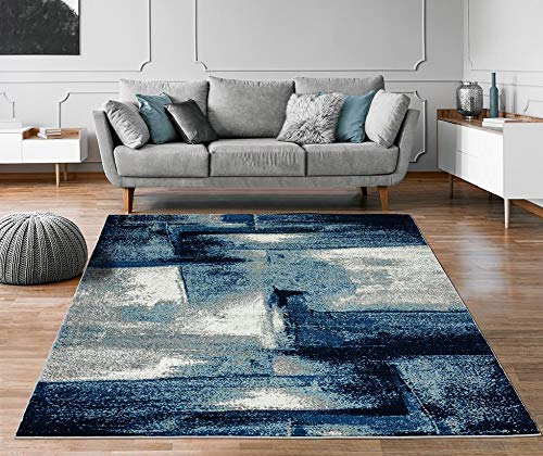 Luxe Weavers Lagos Collection 7558 Navy 8×10 Abstract Area Rug