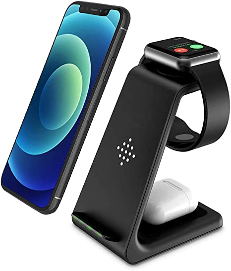 Amazon.com: Wireless Charger, 3 in 1 Qi-Certified Fast Wireless Charging  Station Charger Stand Dock for iPhone 12/11/11pro/11pro Max/X/XS/XR/Xs  Max/8/8 Plus, Apple Watch Series 6/5/4/3/2, AirPods 2/Pro, Samsung