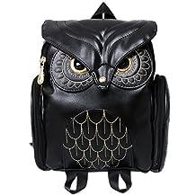 Women Pu Leather Owl Cartoon Backpack Casual Satchel School Purse for Women/Children