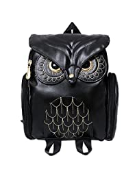Women Pu Leather Owl Cartoon Backpack Casual Satchel School Purse for Women/Children