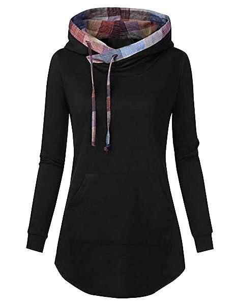 MINSI Womens Pullover Long Sleeve Hoodies Coat Loose Casual Sweatshirts with Pocket (Black Multicolor Grid
