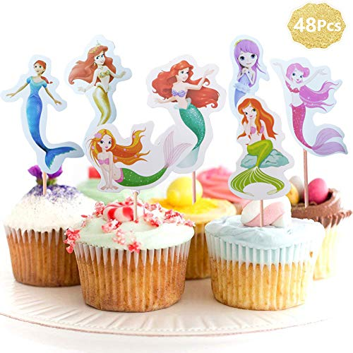 Little Mermaid Princess Theme Cupcake Toppers Picks Cake Decoration for Baby Shower Birthday Mermaid Party Toppers Supplies Favors (48 pcs) -