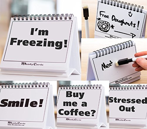Moodycards - Funny Office Gifts - Over 30 Different Mood and Practical Flip-Over Messages - includes Erasable Pen and blank boards to write your - Good Card Christmas Messages
