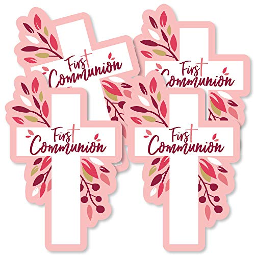 First Communion Pink Elegant Cross - Decorations DIY Girl Religious Party Essentials - Set of 20 -