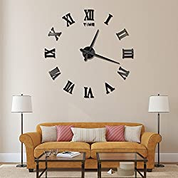 Vangold Large 3D DIY Wall Clock Roman Numerals Clock Frameless Mirror Surface Wall Sticker Home Décor for Living Room Bedroom (2-Year Warranty)