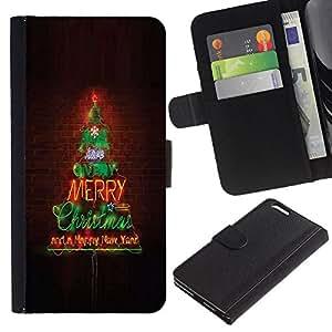 For Apple iPhone 6 Plus(5.5 inches),S-type® Merry Christmas Tree Lights Brick Wall - Dibujo PU billetera de cuero Funda Case Caso de la piel de la bolsa protectora